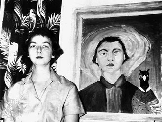 Flannery O'Connor with her self-portrait, complete with infamous peacock.