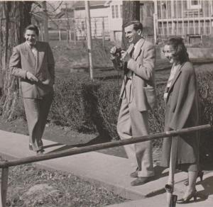 Flannery O'Connor with Arthur Koestler and Robie Macauley, 1947/ Photo credit: Cmacauley at en.wikipedia